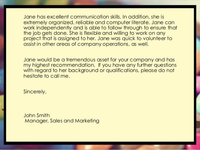 It Recommendation: Letter Of Recommendation