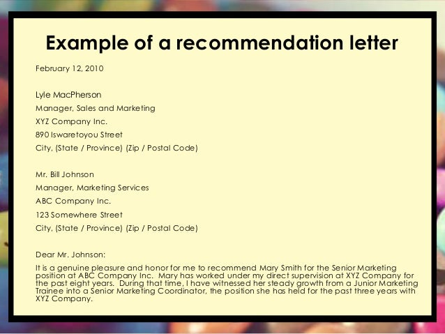 writing a general letter of recommendation