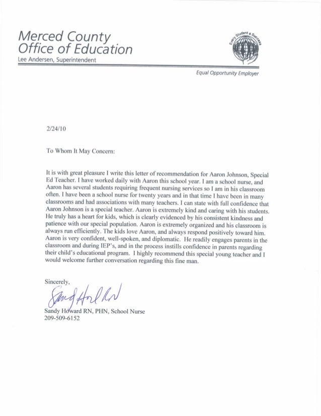 letter of recommendation for paraprofessional