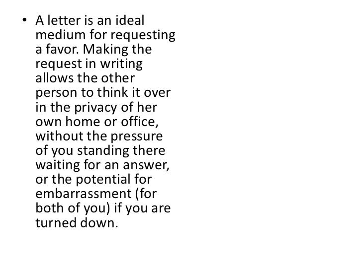 Letter of request.