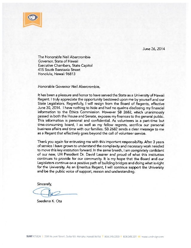 Letter of resignation re ota