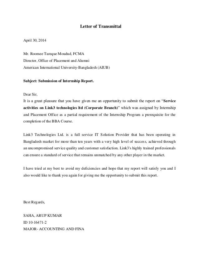 Letter of transmittalacknowledgementexecutive summary – Example Letter of Transmittal