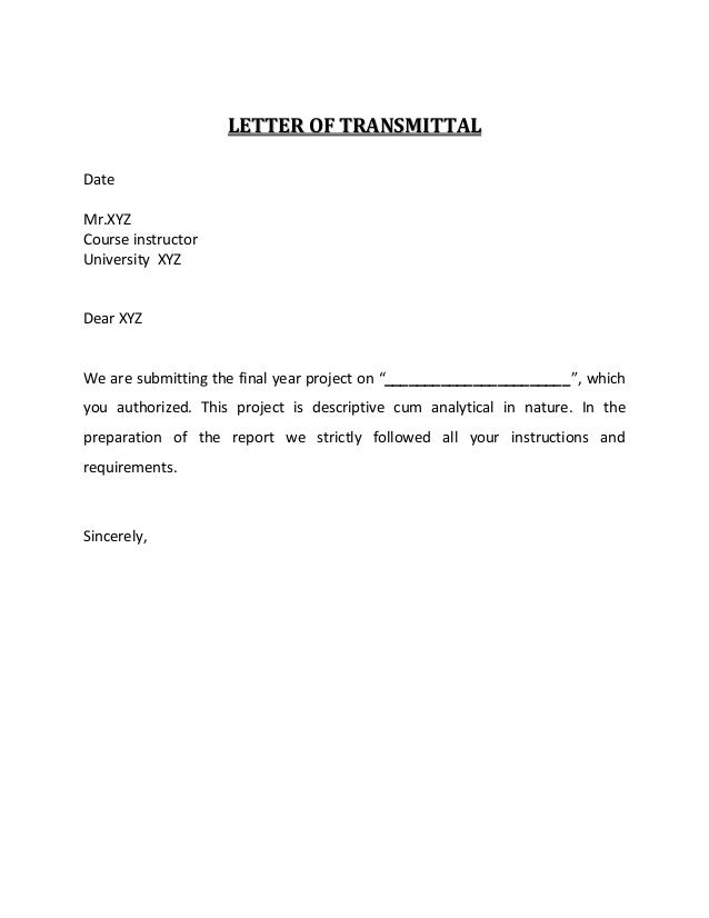 sample letter of transmital
