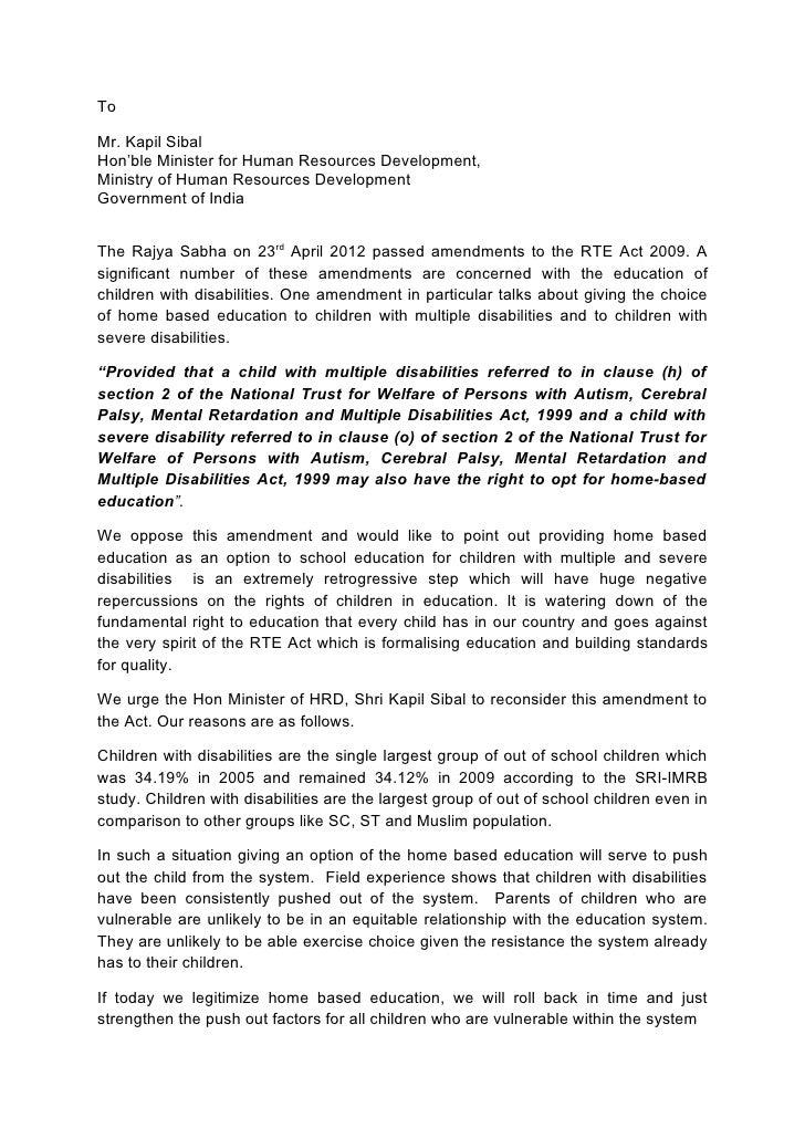 ToMr. Kapil SibalHon'ble Minister for Human Resources Development,Ministry of Human Resources DevelopmentGovernment of Ind...