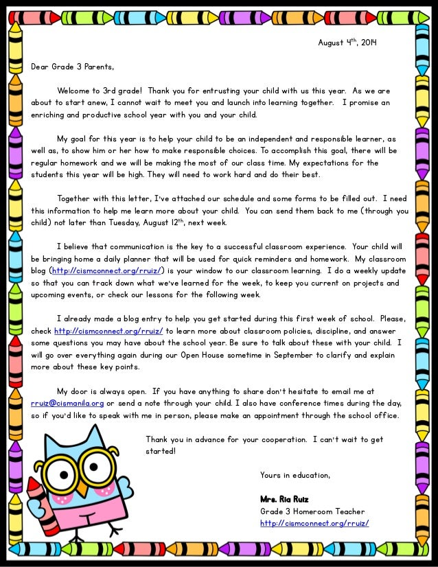 click to edit august 4th 2014 dear grade 3 parents welcome to 3rd grade