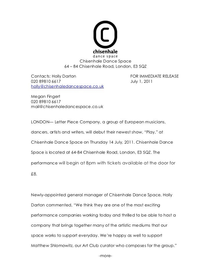 Cds press release letter piece company for Album press release template