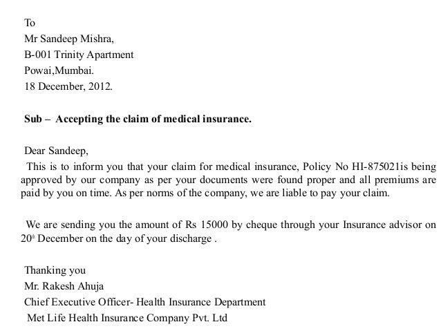 sample letter for insurance claim