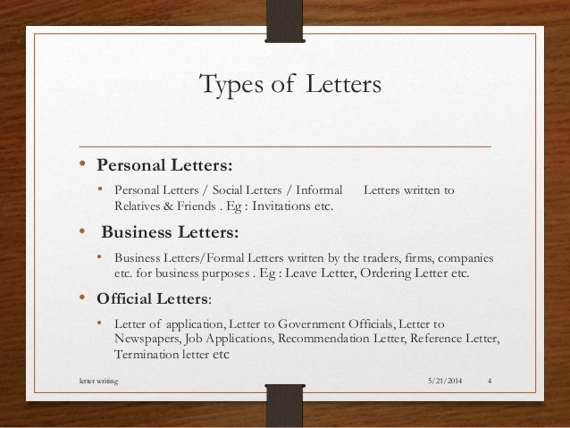 Type Of Letters Writing Letter Writing