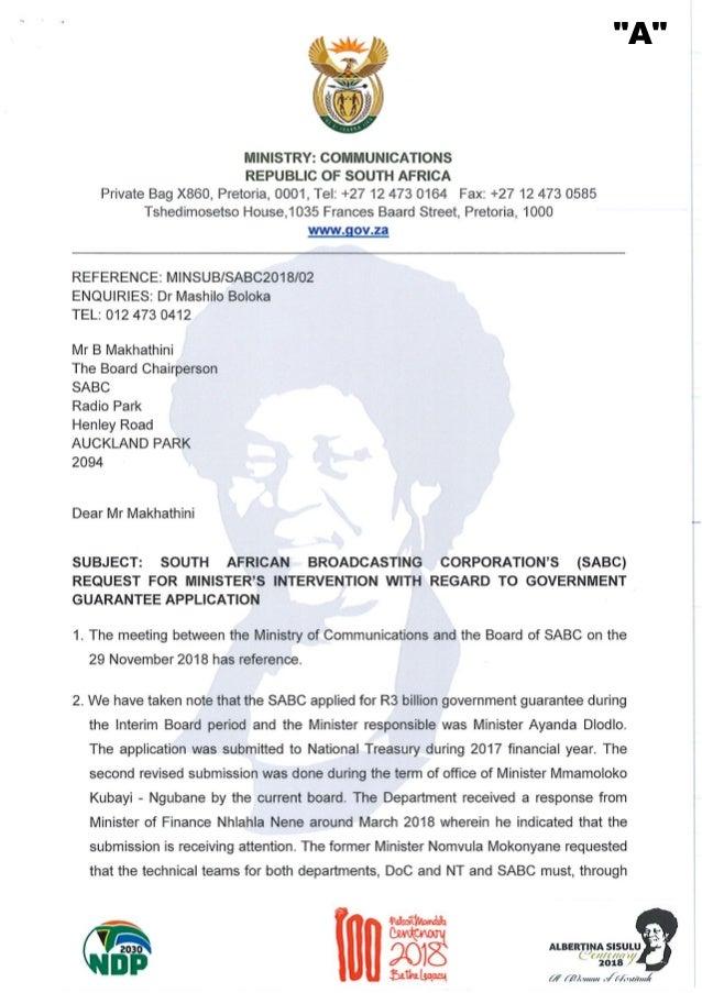 Letter regarding SABC