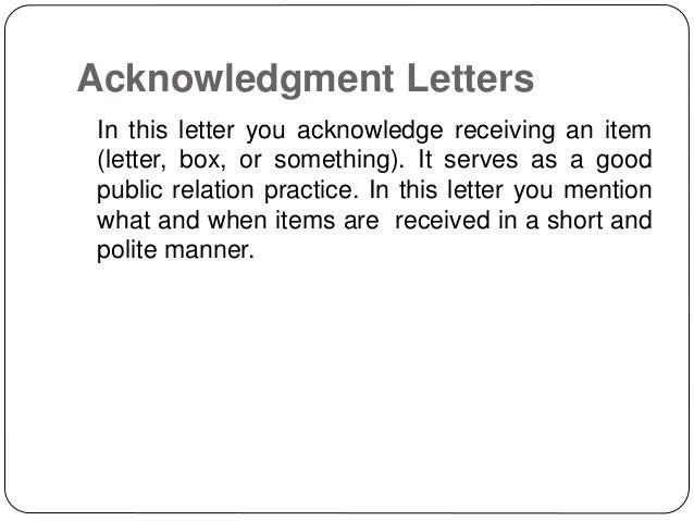 acknowledgement of letter received