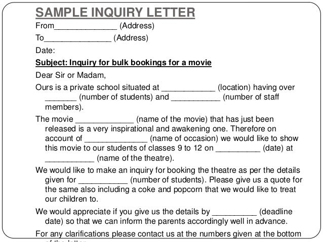 Doc693951 Example Inquiry Letter inquiry letter template 90 – Inquiry Letter