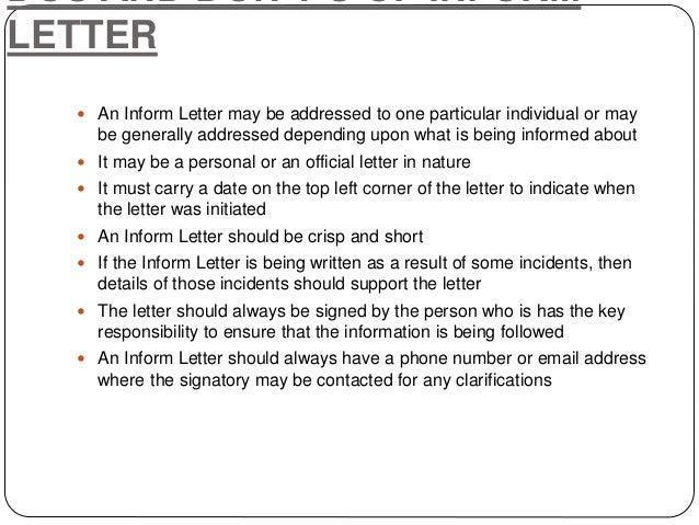 Writing Letters by Ganta Kishore Kumar – Inform Letter
