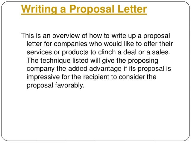 Doc585513 Sample Product Proposal Letter Sample Proposal – Sample Product Proposal Letter