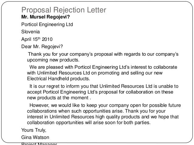 Thank you for your proposal rejection letter gallery letter format thank you for your proposal rejection letter image collections thank you for your proposal rejection letter expocarfo Gallery