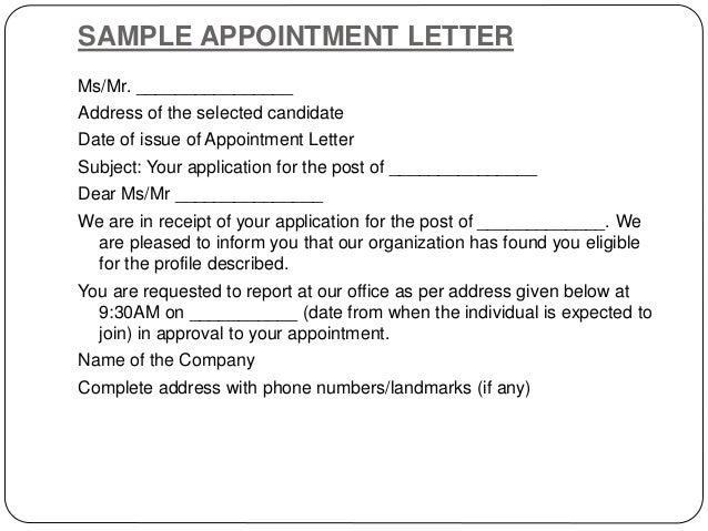 Interview Appointment Letter Appointment Letter Is Being Issued