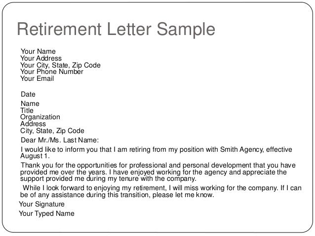 retirement letter sample. Resume Example. Resume CV Cover Letter