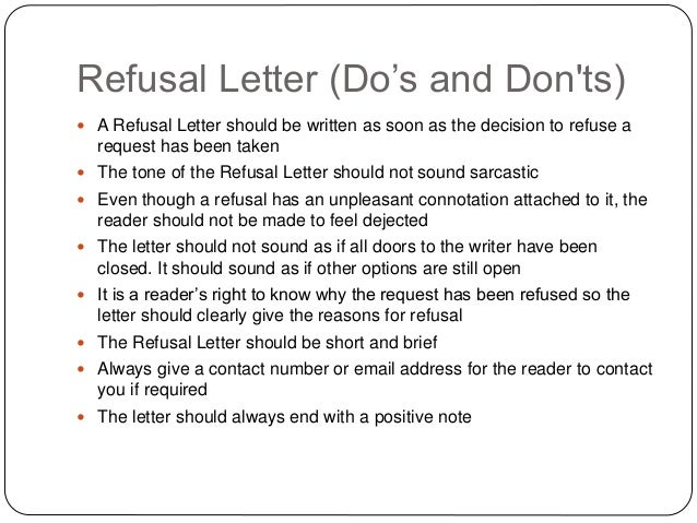 Refusal Letter Write A Refusal Letter Refusal Letter Sample Job