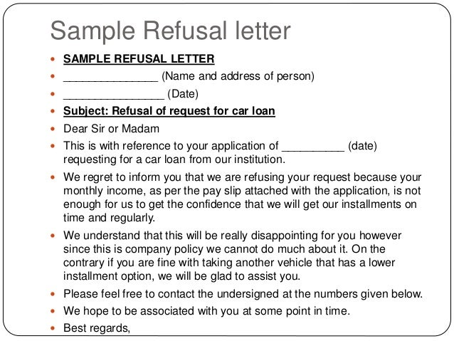 Writing letters by ganta kishore kumar for Loan denial letter template