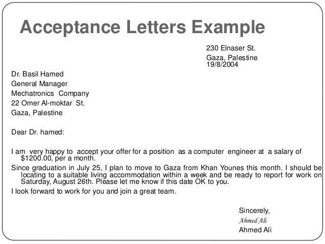 Acceptance Letters ...