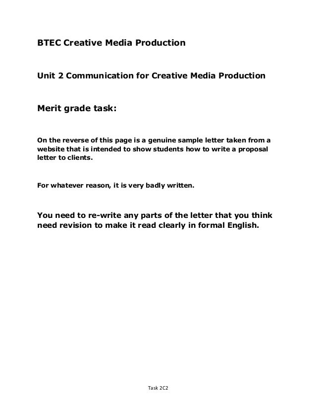 BTEC Creative Media ProductionUnit 2 Communication For Creative Media  ProductionMerit Grade Task:On The Reverse Sample Advertising Proposal Letter  ...