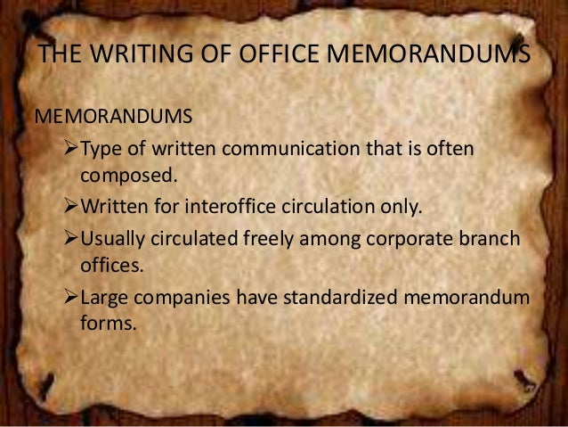 ... 11. THE WRITING OF OFFICE ...  Inter Office Communication Letter