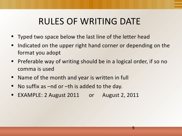 Rules for writing dates