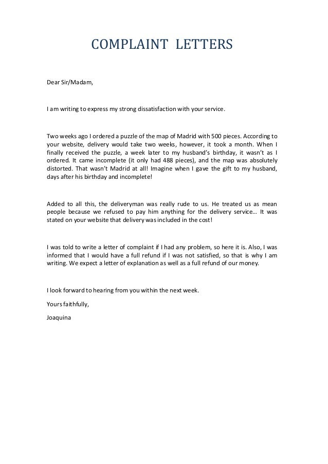 how to write a letter of complaint professional complaint letter
