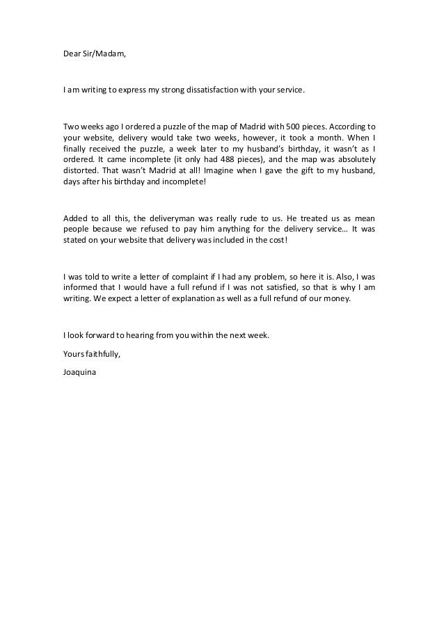 Letters of complaint