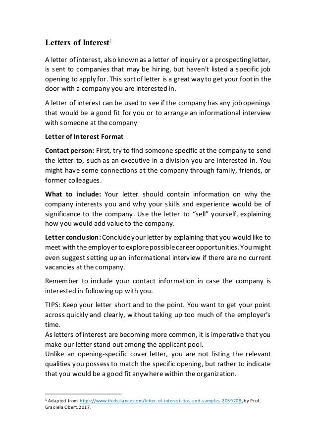 Letters Of Interest1 A Letter Of Interest, Also Known As A Letter Of  Inquiry Or ...