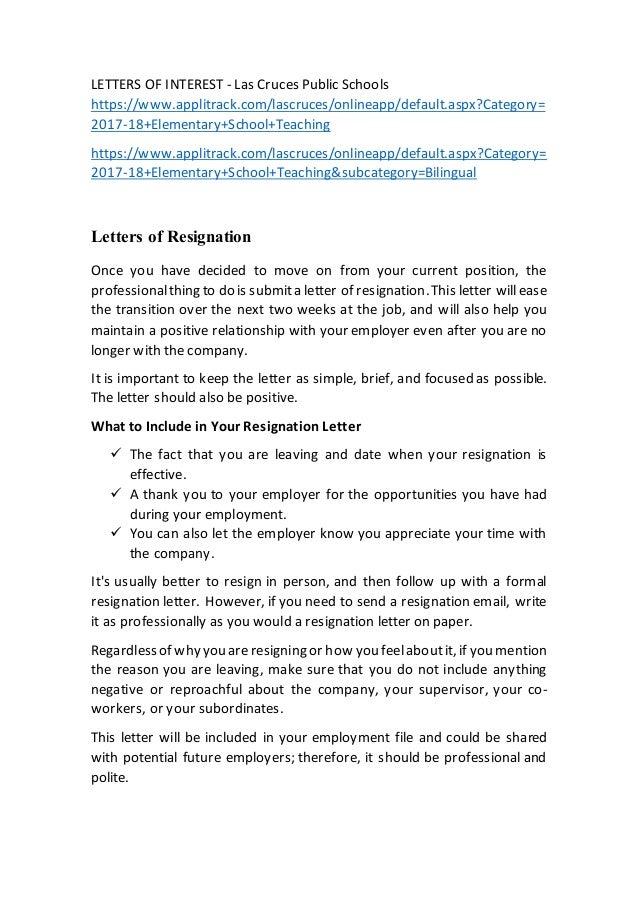 letter if resignation