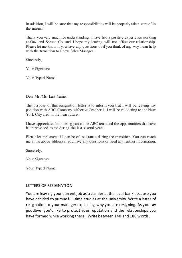 Letters of interest resignation 2017