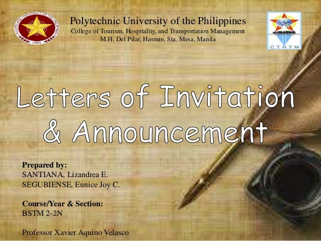 letters of invitation and announcement