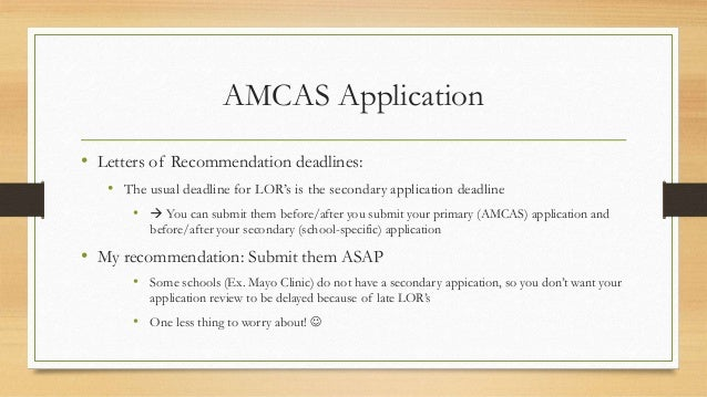 amcas application letters of recommendation