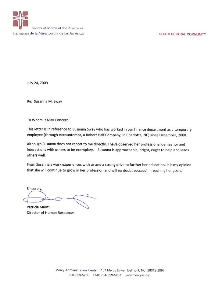 Sway Human Resources Letter Of Recommendation