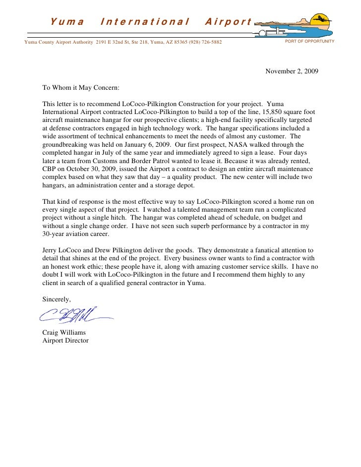 Letters Of Recommendation Lpc. Yuma International Airport Yuma ...