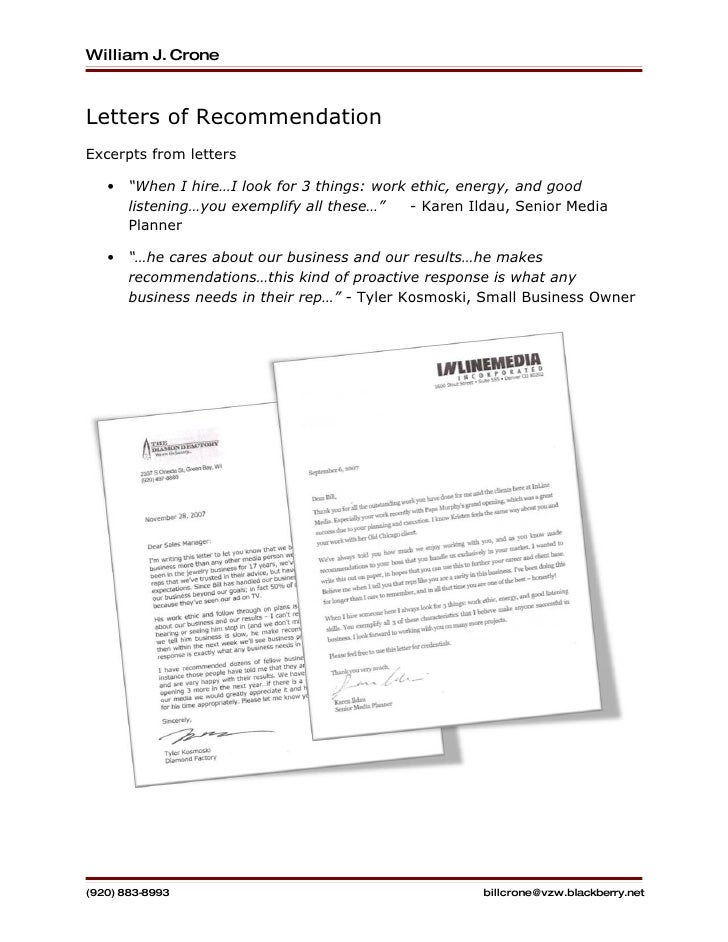 letters of recommendation sheet