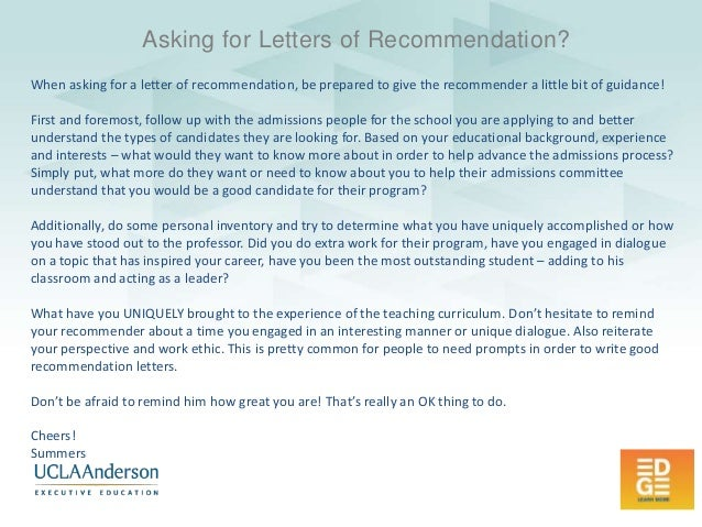 Ucla Anderson Edge Ideas  How To Ask For Letters Of Recommendation F