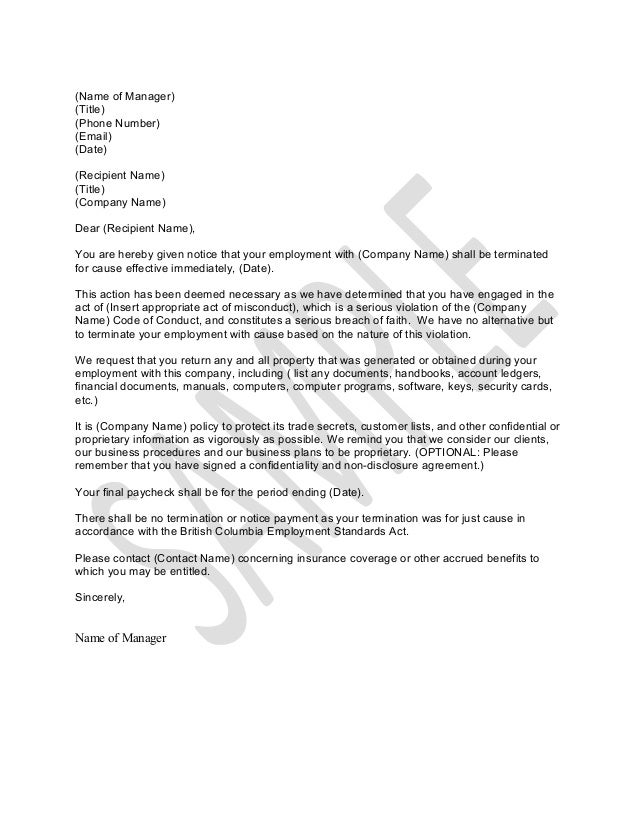 Sample Letter for Termination for Just Cause – Sample Employee Termination Letter