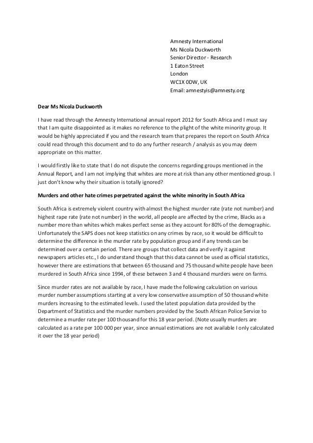 Sample Cover Letter Amnesty International