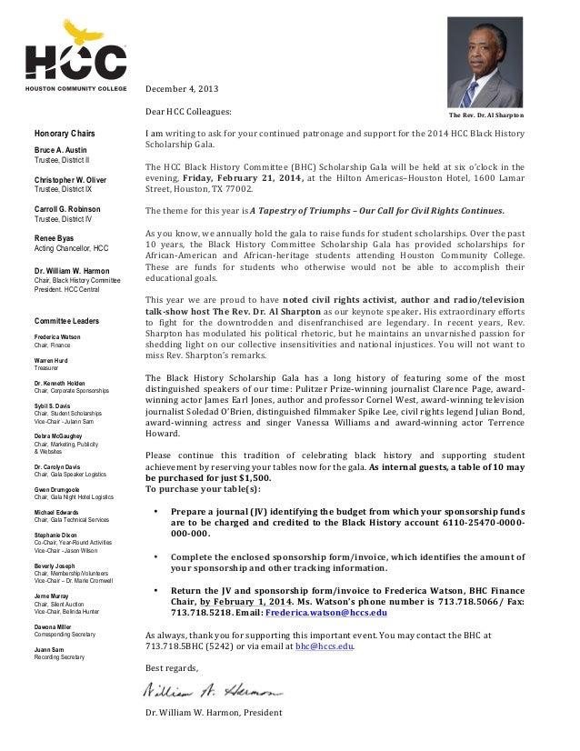 December  4,  2013      Dear  HCC  Colleagues:      Honorary Chairs Bruce A. Austin Trust...