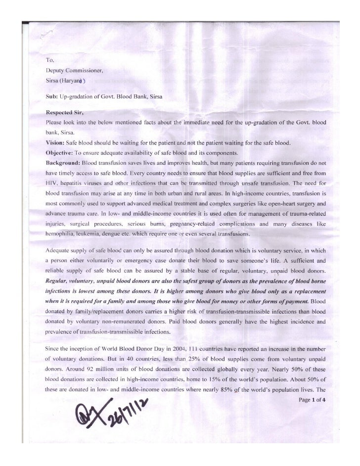 Letter to D.C. Sirsa for the up-gradation of Govt. Blood Bank, Sirsa