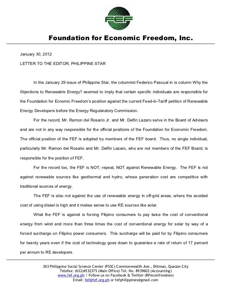 Foundation for Economic Freedom, Inc.January 30, 2012LETTER TO THE EDITOR, PHILIPPINE STAR       In the January 29 issue o...