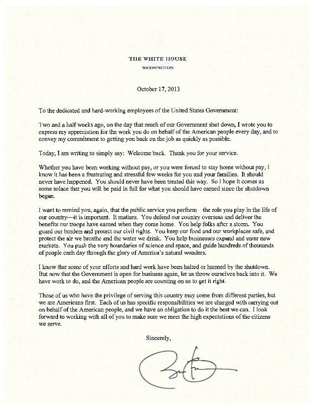 Letter from President Obama to Federal Employees on the Government Shutdown