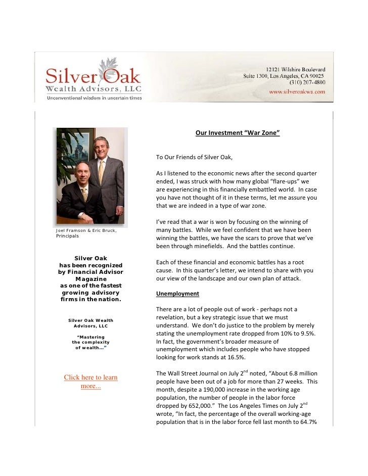 Letter To Friends Of Silver Oak   Our Investment War Zone Q3 2010