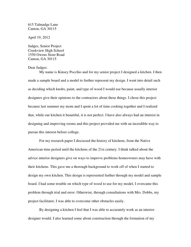 615 Talmadge LaneCanton, GA 30115April 19, 2012Judges, Senior ProjectCreekview High School1550 Owens Store RoadCanton, GA ...