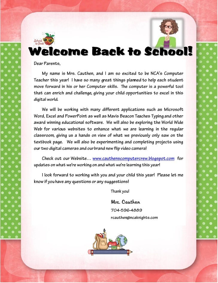 welcome back to school letter templates