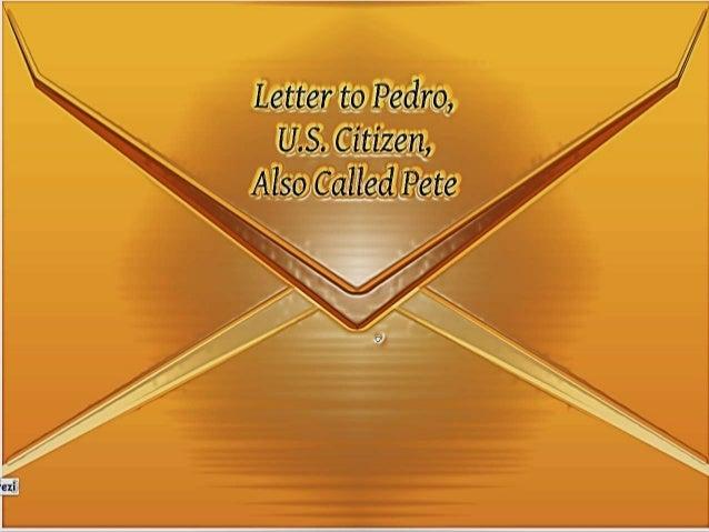 Letter to pedro by rene amper estrella