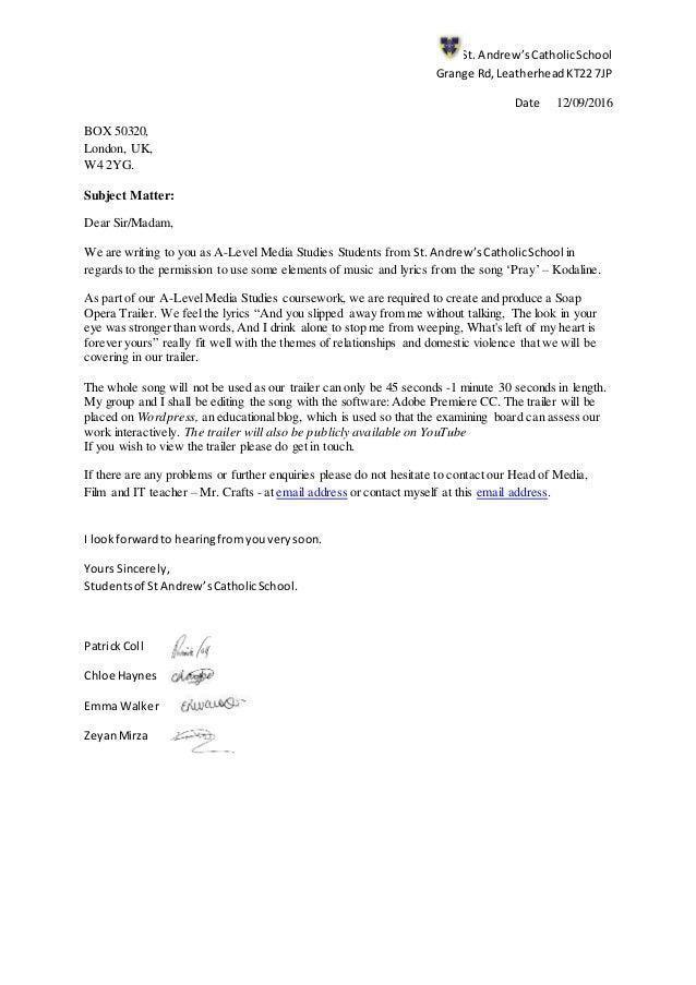 Lyric lyrics opera : Letter to record label