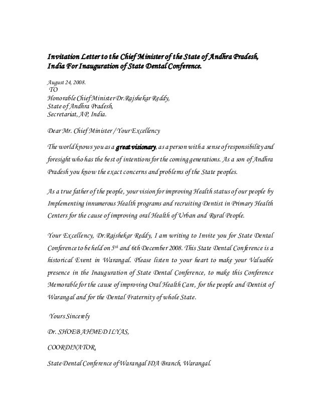 Invitation Letter To The Chief Minister Of The State Of Andhra Prade