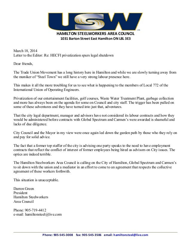 HAMILTON STEELWORKERS AREA COUNCIL 1031 Barton Street East Hamilton ON L8L 3E3 March 18, 2014 Letter to the Editor: Re: HE...